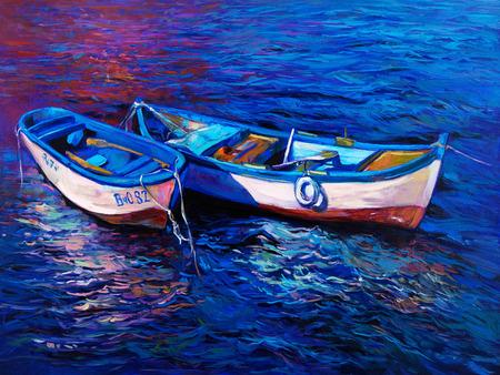 Origineel olieverfschilderij van boten en de zee op doek. Sunset over ocean.Modern Impressionisme Stockfoto - 37929145