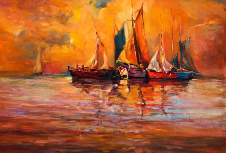 Original oil painting of boats and sea on canvas. Rich golden sunset over ocean.Modern Impressionism