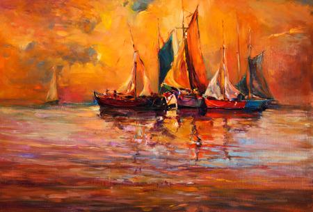 Origineel olieverfschilderij van boten en de zee op doek. Rijke gouden zonsondergang over ocean.Modern Impressionisme