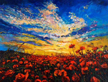 opium: Original oil painting of Opium poppy( Papaver somniferum) field in front of beautiful sunset  on canvas.Modern Impressionism