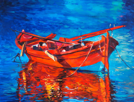 Original oil painting of boat and sea on canvas. Sunset over ocean.Modern Impressionism