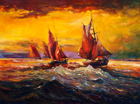 Original oil painting of sail ship and sea on canvas.Rich golden sunset.Modern Impressionism