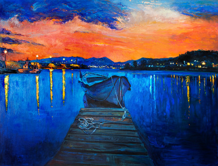 Original oil painting of boat and jetty(pier) on canvas.Rich golden Sunset over ocean.Modern Impressionism