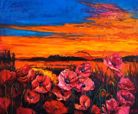 Original oil painting of Opium poppy( Papaver somniferum) field in front of beautiful sunset  on canvas.Modern Impressionism photo