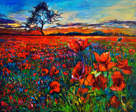canvas painting: Original oil painting of Opium poppy( Papaver somniferum) field in front of beautiful sunset  on canvas.Modern Impressionism