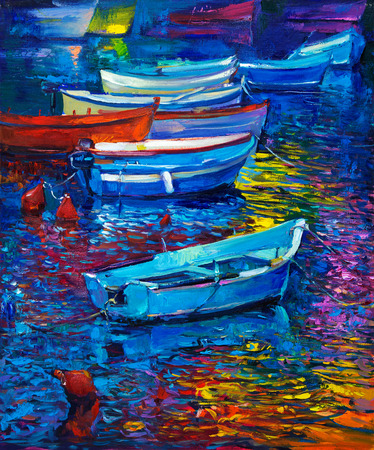 oil painting: Original oil painting of boats and sea on canvas. Sunset over ocean.Modern Impressionism