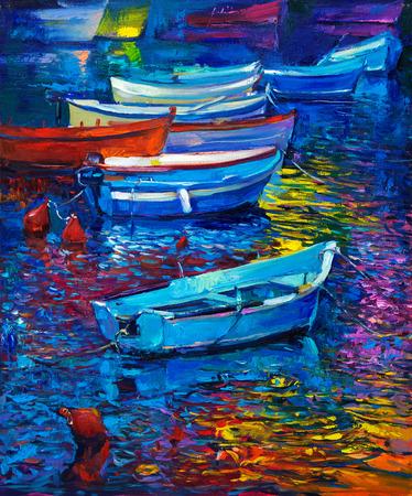 Origineel olieverfschilderij van boten en de zee op doek. Sunset over ocean.Modern Impressionisme Stockfoto - 37926605
