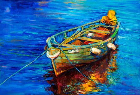 pier: Original oil painting of boat and sea on canvas. Sunset over ocean.Modern Impressionism