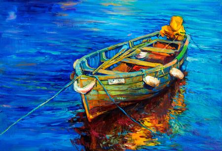 Origineel olieverfschilderij van de boot en de zee op doek. Zonsondergang over ocean.Modern Impressionisme