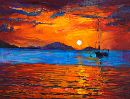 impressionism: Original oil painting of boat and sea on canvas. Rich golden sunset over ocean.Modern Impressionism