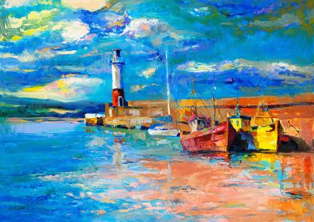 灯台とキャンバス上の船の元の油絵。海の上の豊かな黄金の夕日。現代印象派