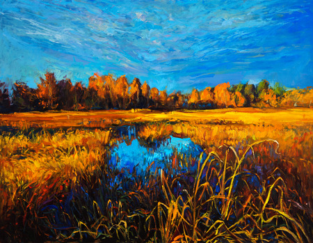 Original oil painting of trees and lake on canvas.Modern impressionism