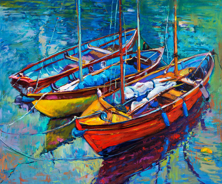 Original oil painting of boats and sea on canvas. Sunset over ocean.Modern Impressionism photo