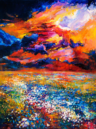 flower fields: Original oil painting of flower  fields in front of beautiful sunset  on canvas.Modern Impressionism Stock Photo