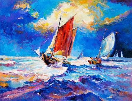 impressionism: Original oil painting of sail ship and sea on canvas.Rich golden sunset.Modern Impressionism