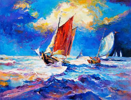 voile: Peinture à l'huile originale du voilier et de la mer sur canvas.Rich impressionnisme sunset.Modern or