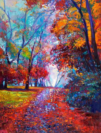 オリジナルの油絵キャンバスに美しい秋の森を示します。現代印象派