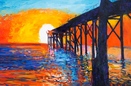 Original oil painting of jetty(pier) or quay on canvas.Rich golden Sunset over ocean.Modern Impressionism