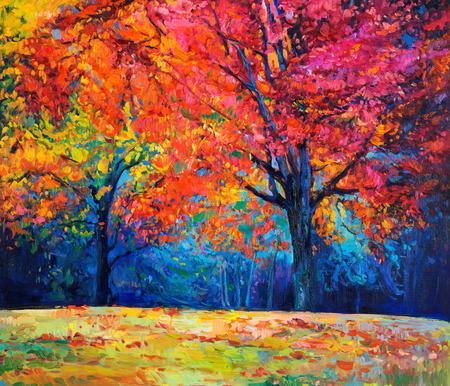 paisaje rural: Pintura al óleo original mostrando hermoso bosque de otoño sobre lienzo. Impresionismo Moderno