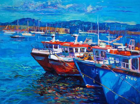 Pintura al óleo original de los barcos y el mar en la lona. Puesta de sol sobre ocean.Modern Impresionismo