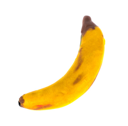 modeling clay: Hand made plasticine or modeling clay figure of a banana on white background