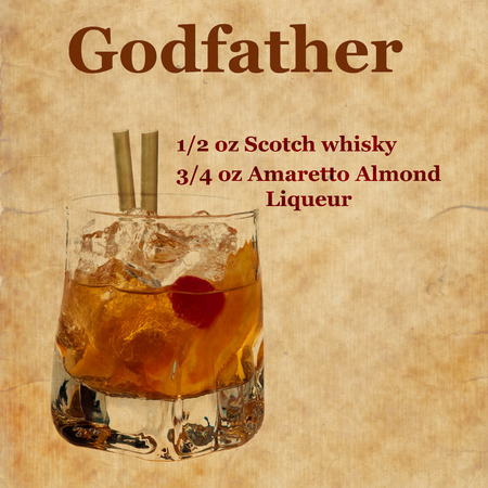 godfather: Old,vintage or grunge Spiral Recipe  Notebook with Godfather  cocktail  on the page.Room for text