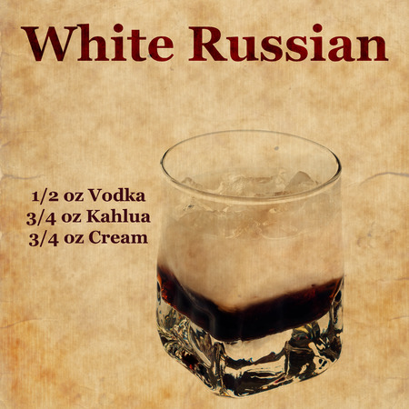 white russian: Old,vintage or grunge Recipe  Notebook with white russian  cocktail  on the page.Room for text