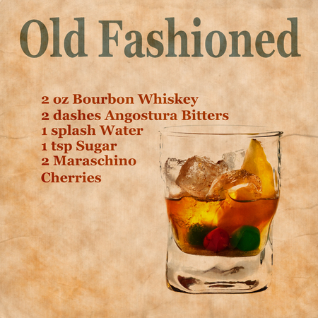 old fashioned: Old,vintage or grunge  Recipe  Notebook with Old Fashioned  cocktail  on the page.Room for text Stock Photo