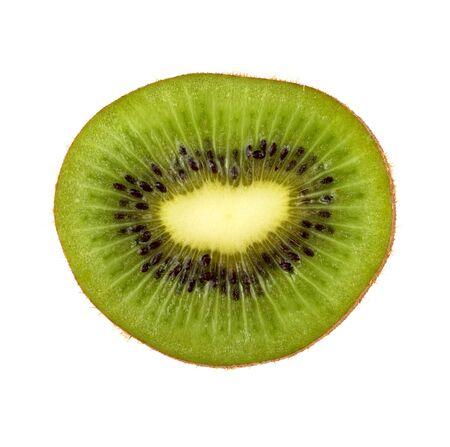 half: Slice of fresh and ripe  kiwi fruit isolated on white background
