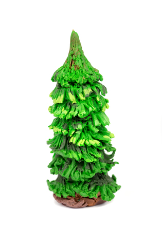 clays: Hand made plasticine or modeling clay figure of Christmas tree fir on white background.Christmas decoration
