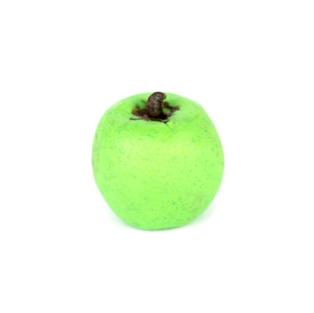 clay modeling: Hand made plasticine or modeling clay figure of a green apple on white background Stock Photo
