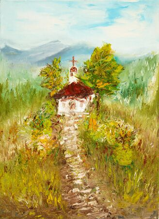 abbey: Original oil painting showing ancient country chapel or church in the mountains on canvas. Modern Impressionism, modernism,marinism