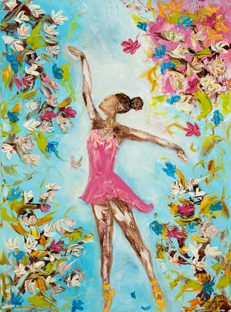 美しい女性バレエ ダンサーやバレリーナ キャンバス上の花の周りに踊りを示す元の油絵。現代の印象派、モダニズム、marinism