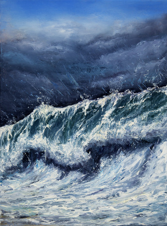 seascape: Original oil painting showing mighty storm in ocean or sea on canvas. Modern Impressionism, modernism,marinism