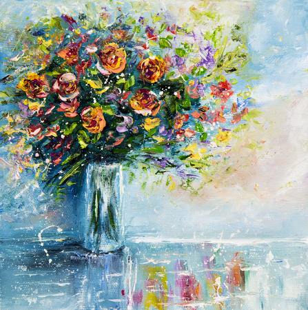 modernism: Original  oil painting of beautiful vase or bowl of fresh  flowers.  on canvas.Modern Impressionism, modernism,marinism
