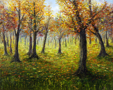 modernism: Original oil painting showing beautiful Autumn forest on canvas. Modern Impressionism, modernism,marinism