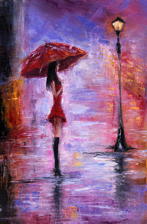 Original oil painting showing beautiful young woman in red,holding red umbrella near a street lamp on canvas. Modern Impressionism, modernism,marinism Stockfoto