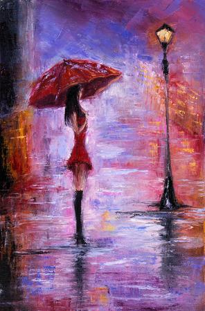 Origineel olieverfschilderij toont mooie jonge vrouw in het rood, met rode paraplu in de buurt van een straat lamp op canvas. Modern Impressionisme, het modernisme, marinisme