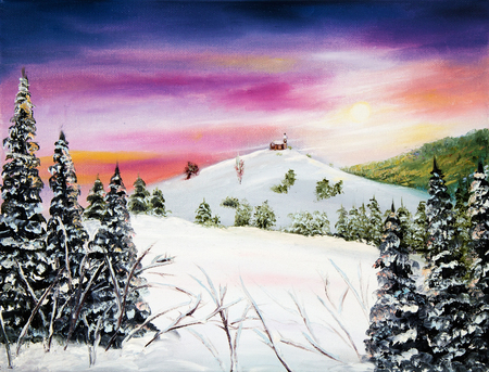chapel: Original oil painting showing ancient country chapel or church in the mountains on canvas.Winter landscape. Modern Impressionism, modernism,marinism