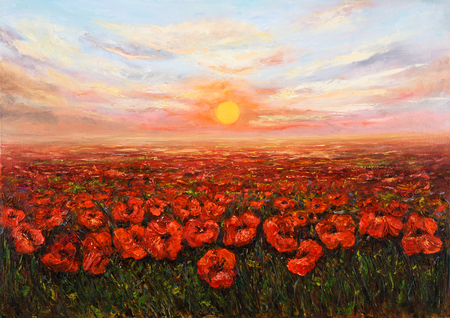 オリジナル油絵キャンバスに沈む夕日の前にアヘン ポピー (ケシ) フィールド。現代の印象派、モダニズム、marinism