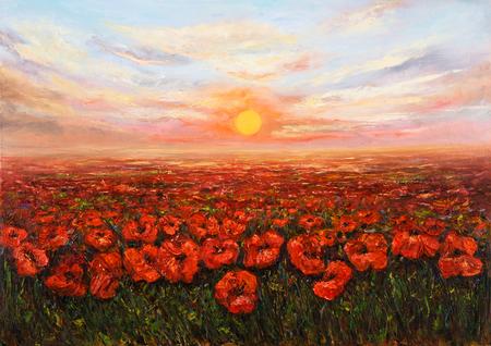 Origineel olieverfschilderij van papavers (Papaver somniferum) gebied in de voorkant van de prachtige zonsondergang op canvas.Modern impressionisme, het modernisme, marinisme