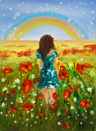 child girl: Original oil painting showing beautiful young girl in flower fields in front of a rainbow on canvas. Modern Impressionism, modernism,marinism