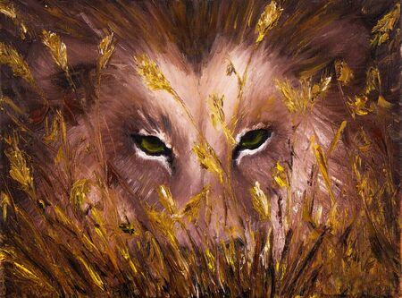 modernism: Original oil painting showing deep wolves eyes behind grass on canvas. Modern Impressionism, modernism,marinism