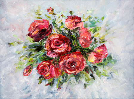 modernism: Original  abstract oil painting of beautiful  fresh bouquet of roses  on canvas.Modern Impressionism, modernism,marinism