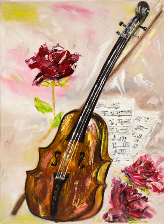 fiddle bow: Original oil painting showing a violin. roses and music sheets on canvas.Musical theme.Modern Impressionism,  modernism, marinism