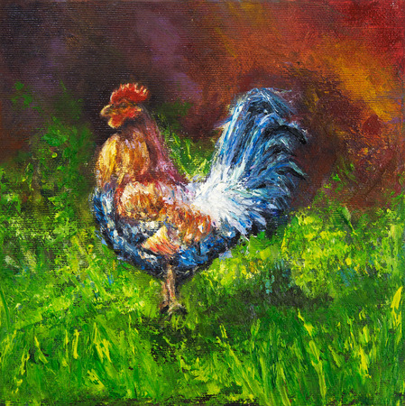 cock hand: Original oil painting of blue and orange rooster or cock .song bird on canvas.Modern impressionism Stock Photo