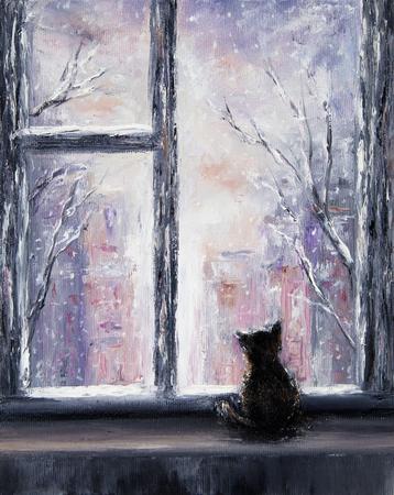 キャンバス上のウィンドウの正面に座って猫の元抽象画油絵。冬のシーン。現代の印象派、モダニズム、marinism