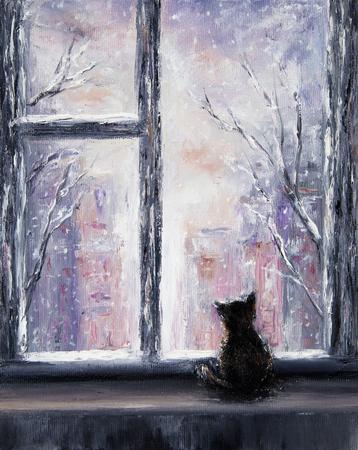 Original  abstract oil painting of a domestic cat sitting infront of window on canvas.Winter scene.Modern Impressionism, modernism, marinism Archivio Fotografico