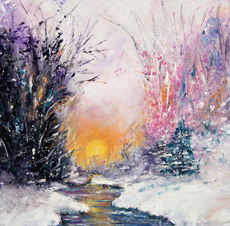 covered in snow: Original  abstract oil painting of beautiful  winter landscape on canvas.Winter scene.Modern Impressionism, modernism, marinism