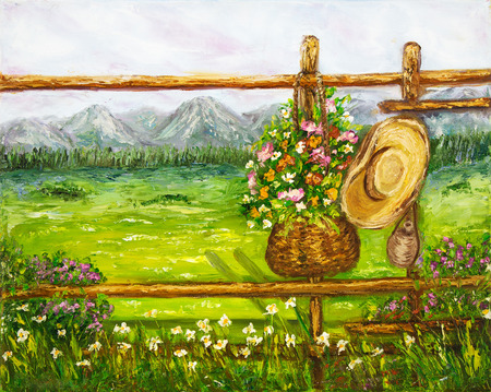 Original oil painting showing ancient country fence with flowers in the mountains on canvas.Spring landscape. Modern Impressionism, modernism, marinism